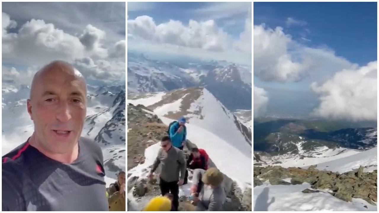 VIDEO/ Zbardhur nga dëbora, Ramush Haradinaj ngjitet në majën e Gjeravicës
