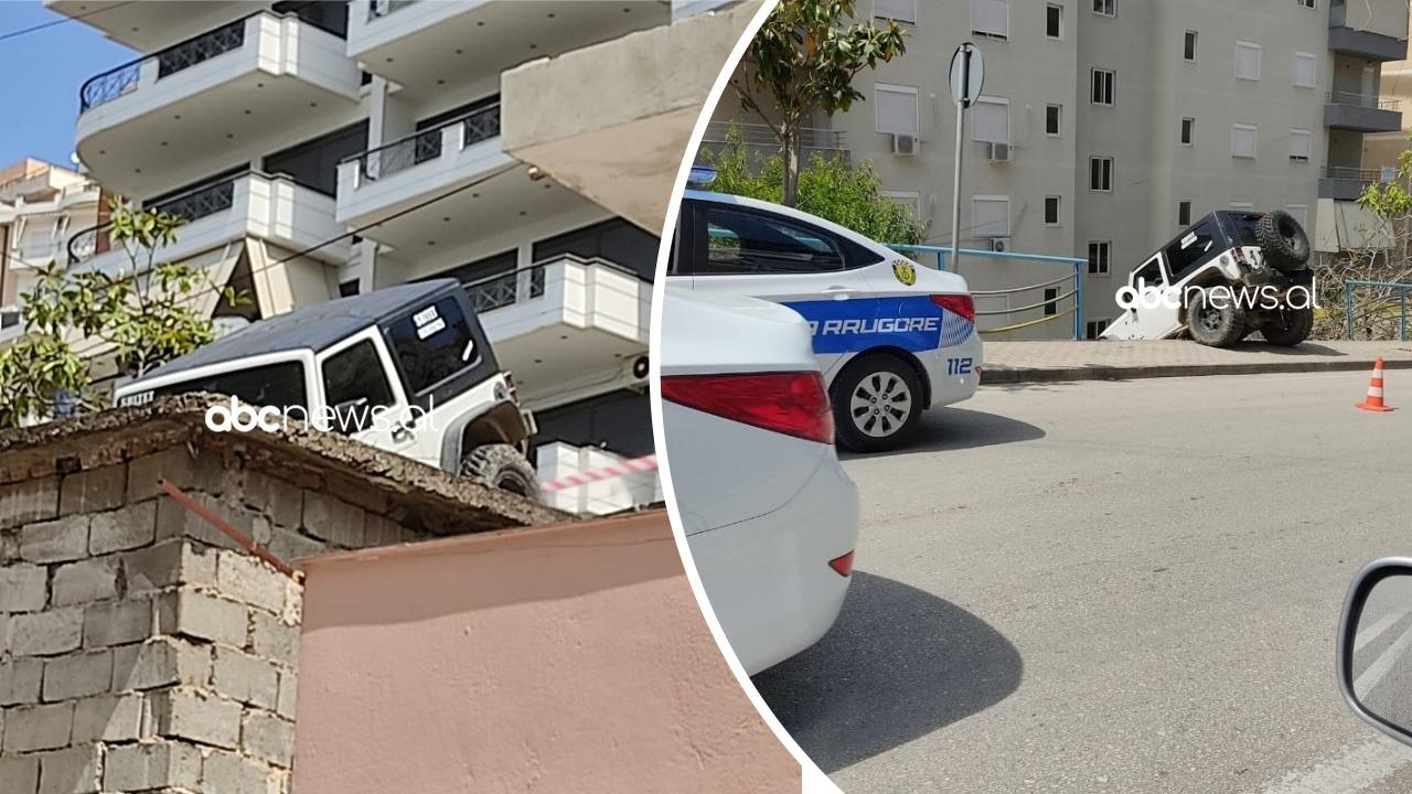 """VIDEO/""""Për fije të perit"""", makina humb kontrollin dhe ngec e varur, shpëton shoferi 70-vjeçar"""