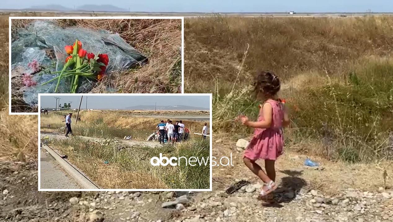 Prekëse! Vogëlushja 3-vjeçare vendos lule në vendin ku u shua familja Gushi