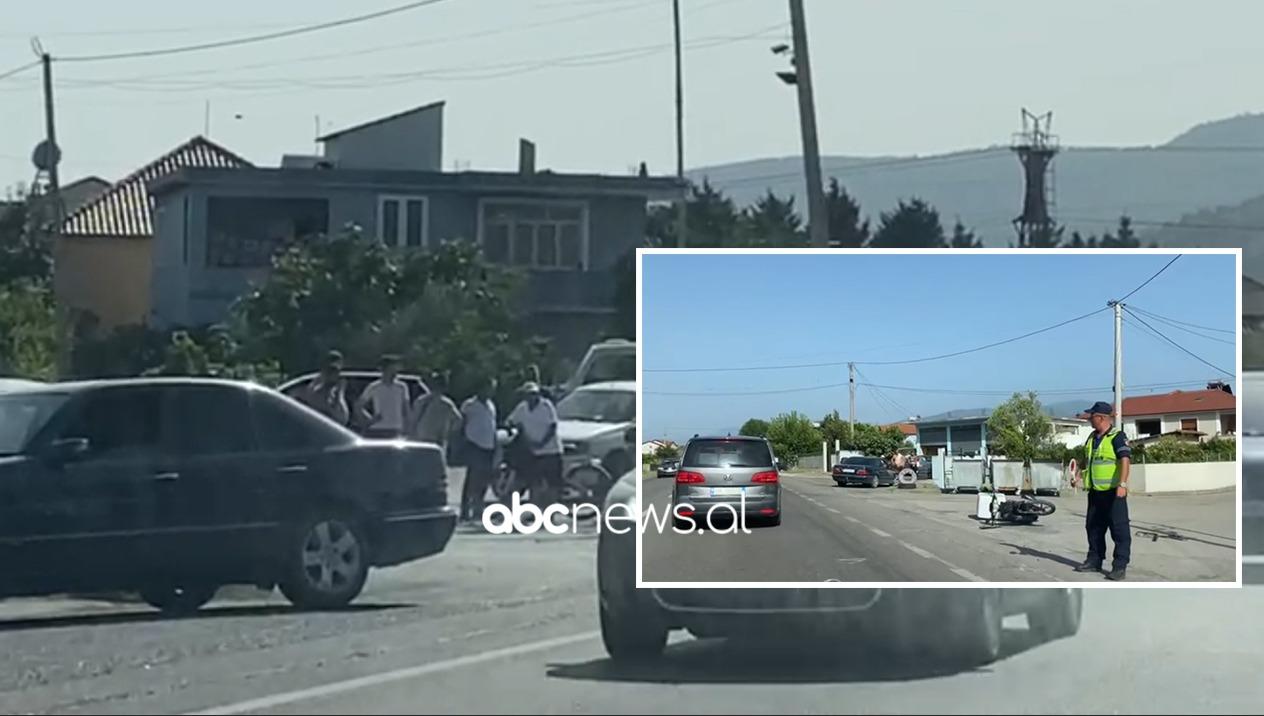 Motori i picave përplaset nga një automjet në Elbasan, lëndohet drejtuesi