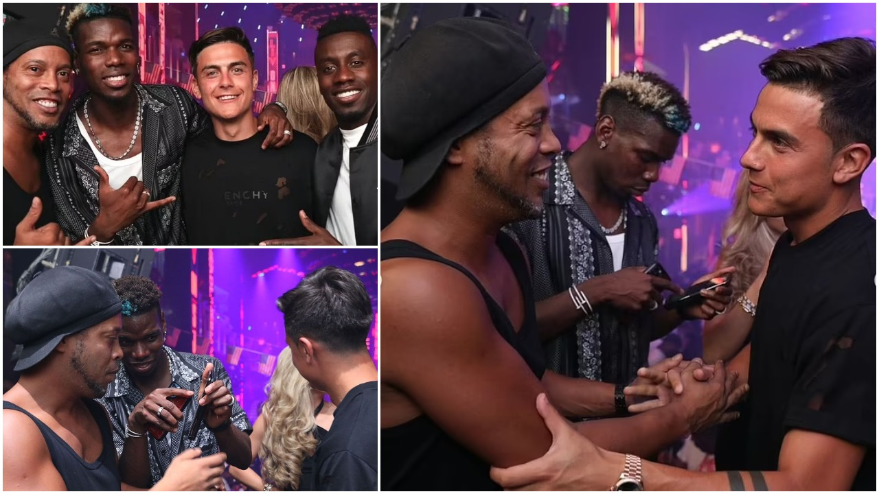 Festë, shaka dhe foto: Pogba dhe Dybala zbaviten me Ronaldinhon në Miami