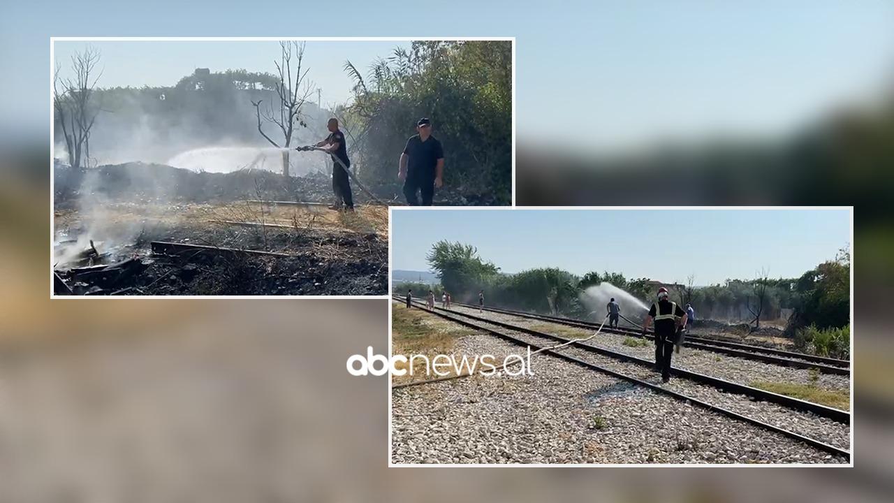 VIDEO/ Zjarr pranë linjës së trenit Vlorë-Fier