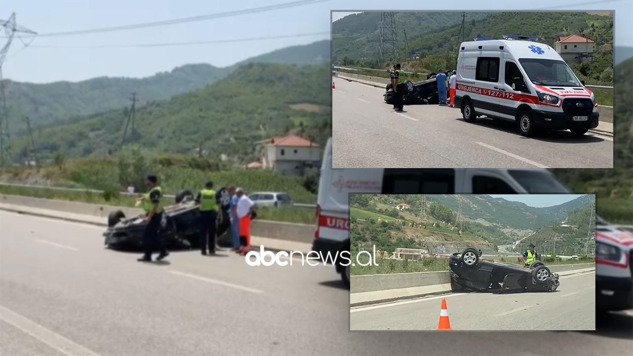 Makina del nga rruga dhe përmbyset në autostradën Elbasan-Tiranë, lëndohen 2 vajza
