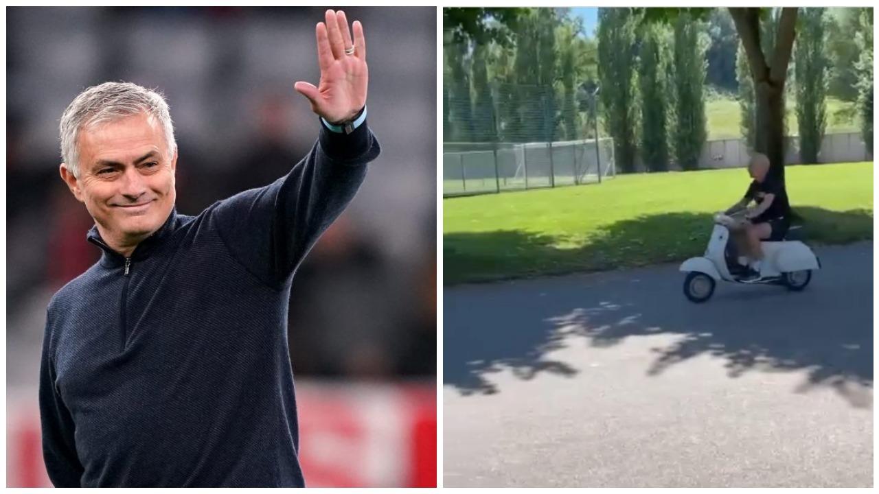 VIDEO/ Mourinho gjithmonë special, shkon në stërvitje me Vespa