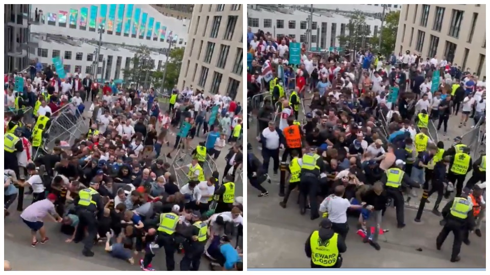 """VIDEO/ Të paduruar për të hyrë në """"Wembley"""", tifozët çajnë gardhin dhe ngecin sipër njëri-tjetrit"""