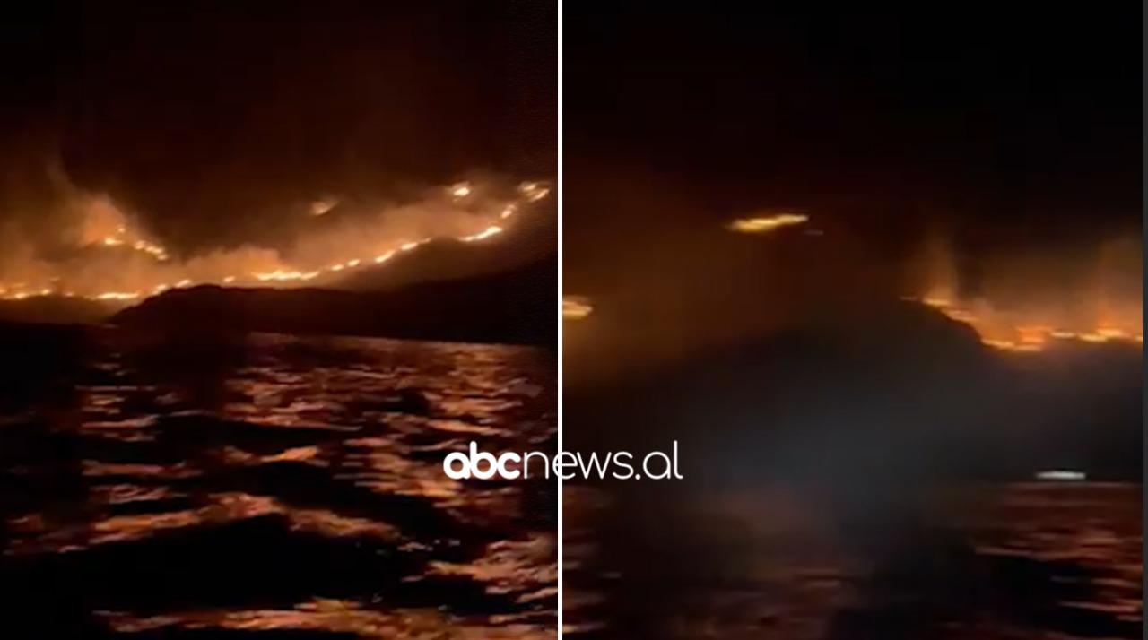 Riaktivizohet vatra e zjarrit në Karaburun, flakët arrijnë afër bregdetit