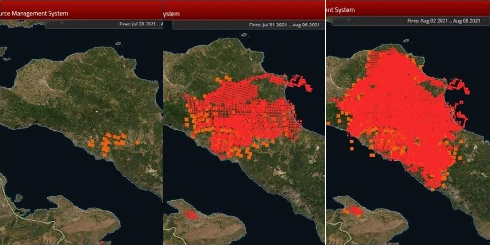 Zjarri në Evia të Greqisë, hartat e NASA-s tregojnë si u përhapën flakët në 5 ditë