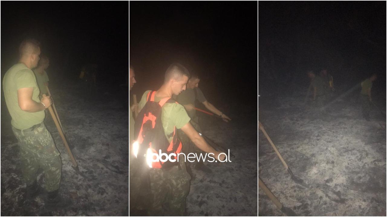 """""""Skuqet"""" Kurbini, forcat ushtarake të Zall Herrit në ndihmë të zjarrfikësve në luftë me flakët"""