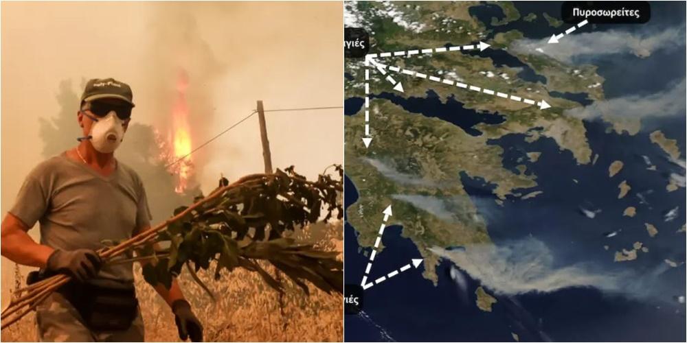 Pamjet nga sateliti, erërat e forta në Greqi çojnë tymin e zjarreve drejt lindjes