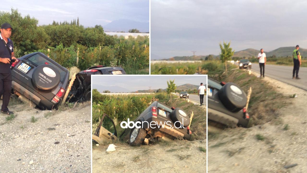 """Pesë të plagosurit në Lushnje, """"Land Rover""""-i dhe """"Ford""""-i u kokë më kokë në kanal"""