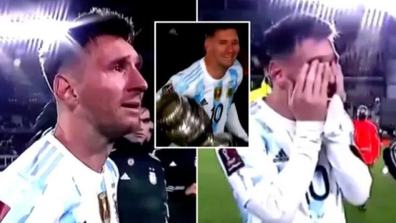 Emocionuese: Me trofeun e Copa America në duar, Messi shpërthen në lot (VIDEO)