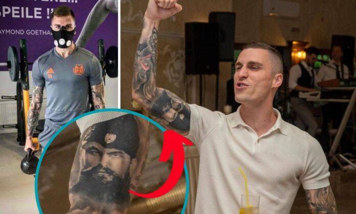 FOTO/ UEFA penalizon lojtarin boshnjak që ka tato një kriminel: Nuk mund të luash në ndeshje evropiane