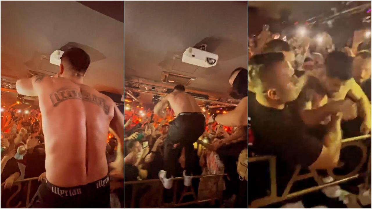 VIDEO/Noizy heq bluzën dhe hidhet mes fansave, truprojat ndërhyjnë menjëherë