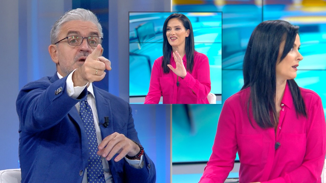 I ftuari ngre gishtin dhe tregon monitorin, gazetarja nuk e mban të qeshurën pas këtij veprimi: Më je bërë si drejtues emisioni